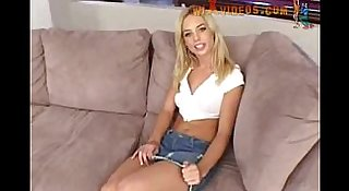 Riley shy fucked on a sofa