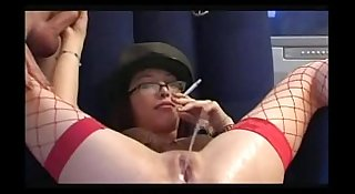 Kinky pissing smoking spanking slut dominates her man slave