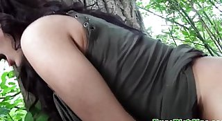 Outdoor euro pussyfucked doggystyle