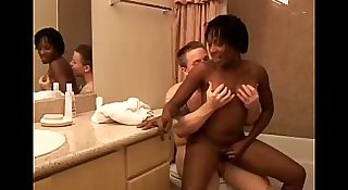 Sexy black MILF fucks a lucky white guy